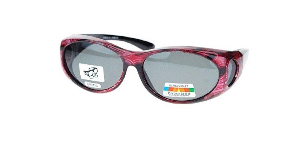 Polarized Sunglasses Fit Over 60 MM Small Oval - Red