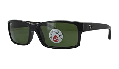 RAY-BAN RB4151 Rectangular Sunglasses, Black/Polarized Green, 59 mm