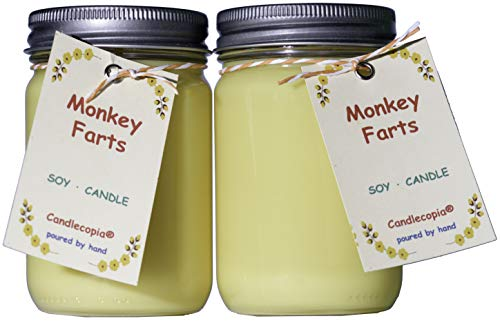Candlecopia Monkey Farts Strongly Scented Hand Poured Premium Soy Candles, 12 Ounce Pewter Lid Canning Jar x 2-Pack
