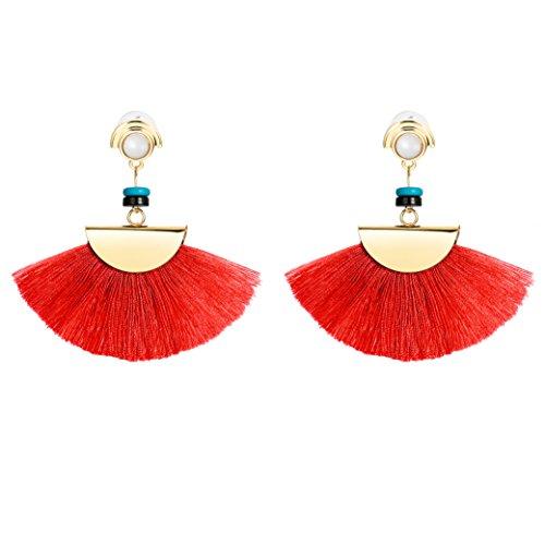 JOERICA Dangle Womens Earrings Long Fringe Drop Earrings Tassel Ear Drop Red
