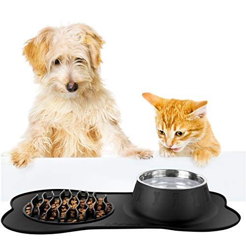 FLYINGCOLORS Pet Bowls Stainless Steel Dog Bowl, Slow Feeder and Pet Water Bowl Set, with No-Spill Skid Suction Silicone Mat, for Feeding Dogs Cats and Pets (Black)