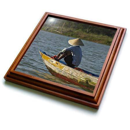 3dRose Danita Delimont - Vietnam - Man fishing from boat on Thu Bon River, Hoi An, Vietnam - 8x8 Trivet with 6x6 ceramic tile (trv_312890_1) ()