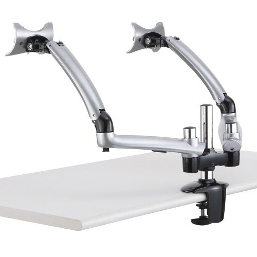 Cotytech Dual Apple Desk Mount Spring Arm Clamp Base - Silve