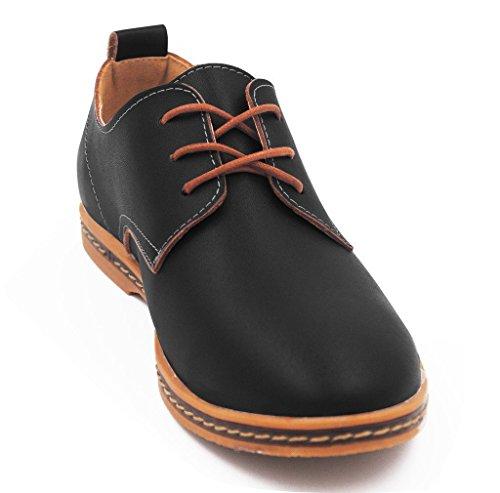 Kunsto Men's Oxfords Leather Shoes Lace up US Size 8 Black