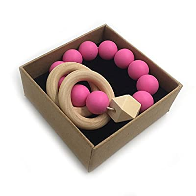 Amyster DIY Baby Teether Nursing Bracelet Food Grade Silicone Teether Wooden Teether Ring Teether Nature Safe Organic Infant Baby Bangle Teether Toys (Rose): Toys & Games