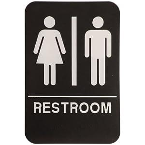 Unisex Restroom Sign Black White Ada