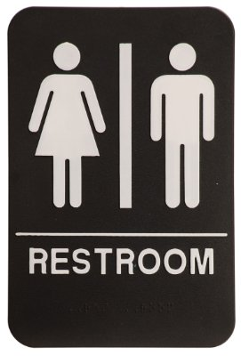 Unisex restroom sign black white ada for Unisex handicap bathroom sign