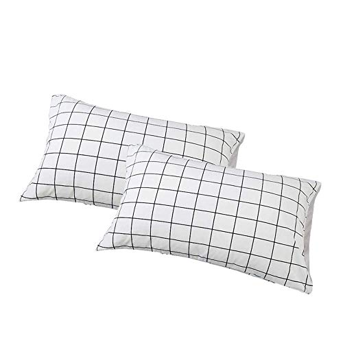 Pillow Checkered (VClife Checkered Queen Twin Pillow Cases, Reversible Geometric Gray White Pattern Design, Set of Two with Envelope Closure End, Ultra Soft, Breathable, Wrinkle-Resistant)