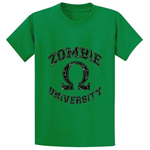 Chas Zombie University Teen Crew Neck Short Sleeve T Shirt Green (Adult Cheer Bear Dress)