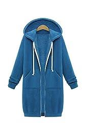 FENGDONGsize hoodieWomen Casual Long Jacket Hoodies Sweatshirt 7 Colors Hoodies