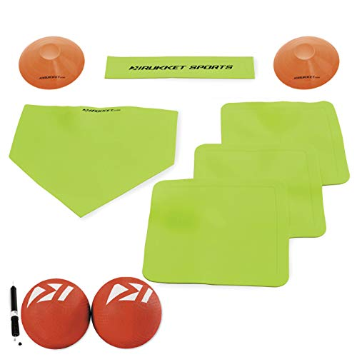Rukket Kickball Set with Bases | Rubber Throw Down Plates and Kick Ball | Perfect for Kids and Adults | Playground and Backyard Game | Air Pump and Foul Line Cones (Kickball Bundle (w/ 2 Kickballs))