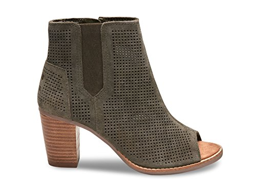 TOMS Womens Deia Boot Tarmac Olive Suede-perforated 9nRCE7