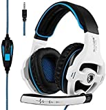 SADES SA810 Wired Over Ear Stereo Gaming Headset with Noise Isolation Microphone for NewXboxOne/PC/MAC/ PS4/ Phones/Tablet in Black White