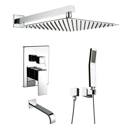 (Artbath Shower System With Tub Spout,Shower Faucets Set for Bathroom and High Pressure Rain Shower Head Wall Mounted Shower Set(Contain Shower Faucet Rough-In Valve),Chrome)