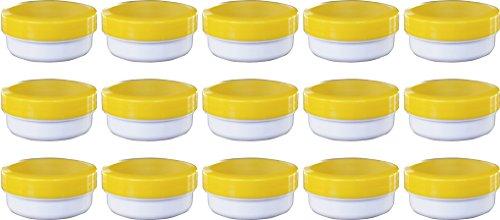 15 Salbendöschen, Cremedöschen, Salbenkruke flach, 12ml Inhalt mit gelbem Deckel - MADE IN GERMANY