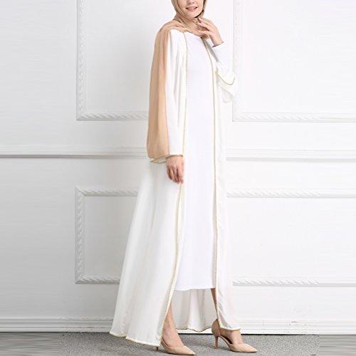 Zhhmeiruian Pour Femmes Du Moyen-orient De Grande Taille Cardigan Longues Musulmans Islamic Robes Manches Longues Blanc Abaya Vêtements De Plein Air