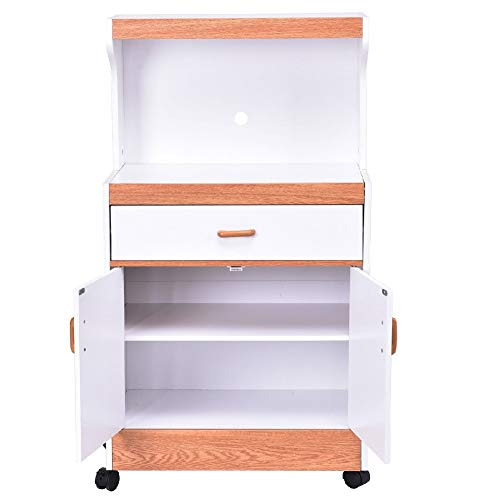 Kitchenware Pantry Beverage Cart Cabinet Storage Shelves Wheel Drink - Tier Double Toaster Oven