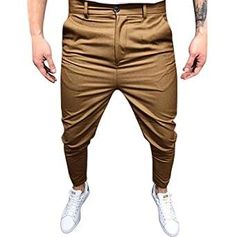 Pantalones de Hombre Traje Men Pants Moda Color Sólido Suelto ...