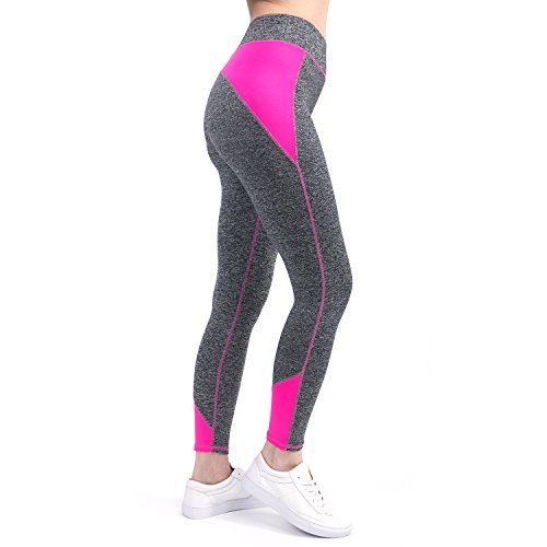 RoxZoom Women's Tights Activewear Workout Yoga Leggings Capri Pants Running Tights with Color Blocking – Magenta, Large
