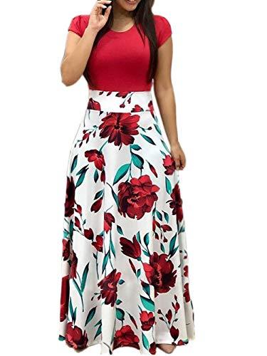 Voopptaw Women Tunic Dress Boho Print Short Sleeve Empire Waist Sun Dress Red#2 -