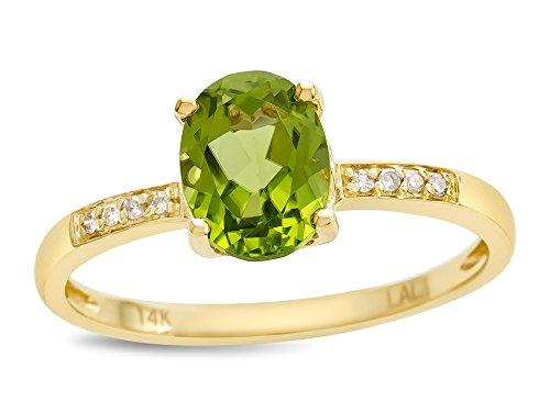 14k Gold Peridot Ring - LALI Classics 14k Yellow Gold Peridot Oval Ring Size 7