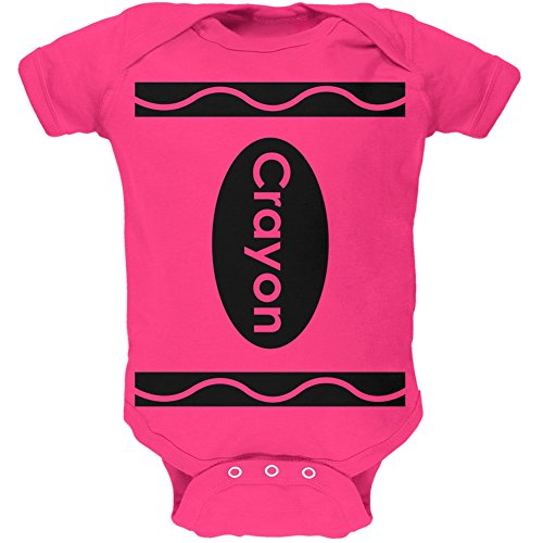 [Halloween Crayon Costume Hot Pink Soft Baby One Piece - 0-3 months] (Halloween Costumes 03)