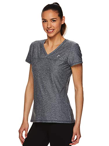 Head Ladies Tee - HEAD Women's Short Sleeve Workout T-Shirt - Performance Tennis Crew Neck Activewear Top - Medium Grey Heather, Medium