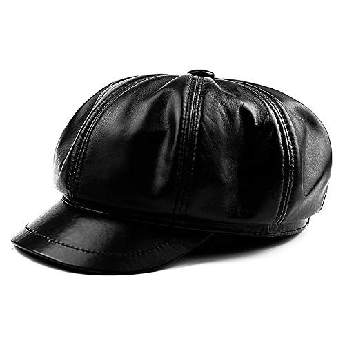 ACDOS Sheepskin Fashion Painter Hats Fashionable high-end Leather Hats for Men and Women Octagonal Hats Warm for Autumn and Winter (Color : Black, Size : 56-60cm Adjustable Size)