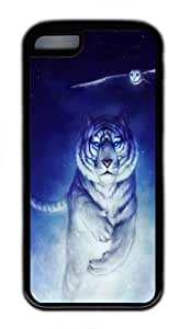 iPhone 5C Case,White Tiger Owl Art TPU Custom iPhone 5C Case Cover Black by mcsharks