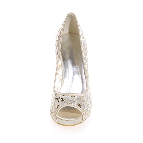 L@YC 6041-06 Tacones De Boda De Las Mujeres Plataforma De Encaje Peep Toe Ceremonia Zapatos Nupciales De La Corte Gold