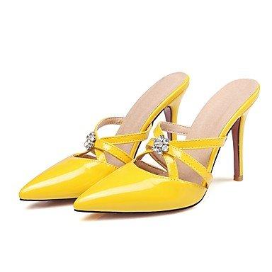 LvYuan Mujer-Tacón Stiletto-Otro-Sandalias-Vestido-Cuero Patentado-Negro Amarillo Rosa Blanco Beige Yellow