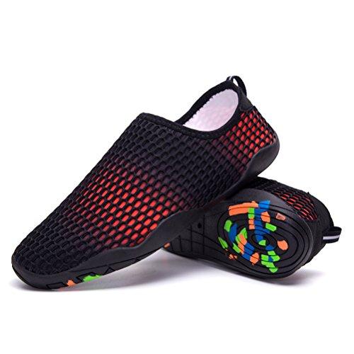 Skysun Wasserschuhe Mens Womens Slip auf Wasser Aqua Schuhe Quick Dry für Schwimmen, Yoga, See, Strand, Schnorcheln, Bootfahren Skw1002-1-bk / Rd