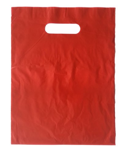 9x12 Red Die Cut Handle Plastic Shopping Bags 100/cs - Bags Direct Brand (Die Bags Gift Cut)
