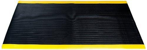 Bertech Anti Fatigue Vinyl Foam Floor Mat, 3' Wide x 20' Long x 3/8'' Thick, Ribbed Pattern, Black w/Yellow Border (Made in USA) by Bertech (Image #2)