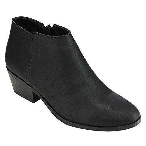 Soda FC67 Women's Western Inside Zipper Stacked Heel Ankle Booties, Color:BLACK PU, Size:5.5