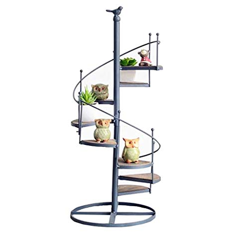 Minmin Retro Simple Wrought Iron Stair-Shaped Flower Stand Multi-Layer Wall Small Potted Ornaments Rack Storage Rack