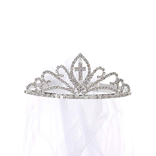 Kids Dream Girls Cross First Communion Veil Tiara Crown (White, OS)]()