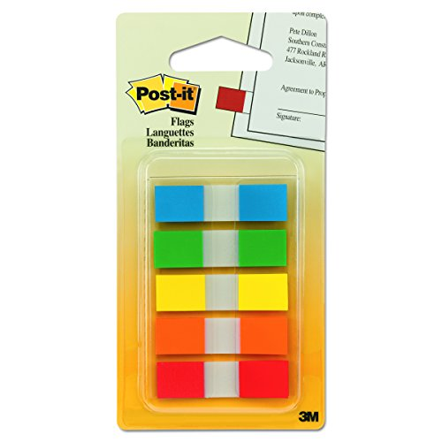 Post-it Flags with On-the-Go Dispenser, Assorted Primary Colors, 1/2-Inch Wide, 100/Dispenser, 1-Dispenser/Pack