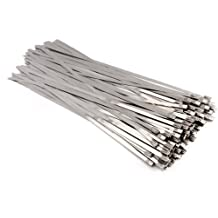 "Stainless Steel Zip Ties Wraps Locking Cable Ties, TAKSDAI 100pcs 11.8"" Metal Tie Wraps Ties Straps Wrapping Exhaust Pipes Exhaust Wrapping Header Wrap"