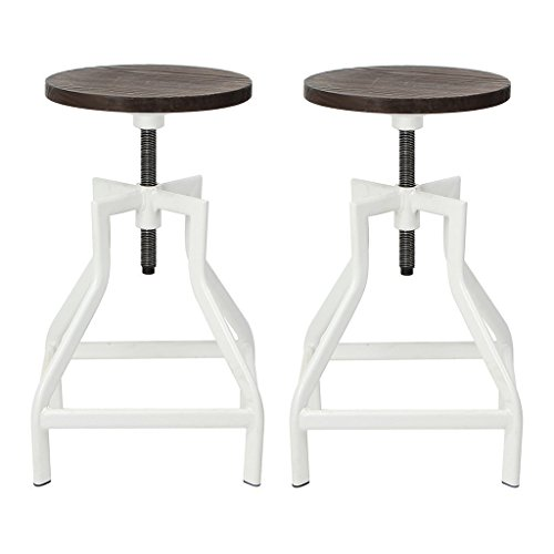 VH FURNITURE Swivel Metal Counter Height Round Wood Adjustable Barstools, Rustic Industrial Dining Bar Chairs For Outdoor And Indoor ()