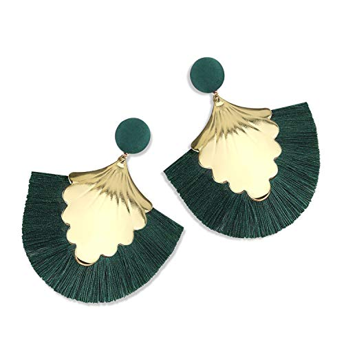 Statement Tassel Earrings for Women Drop Dangle Handmade Tiered Thread Layered Bohemian Beach Party Girl Novelty Fashion Summer Accessories - E2 Dark Green - Element Green Earrings