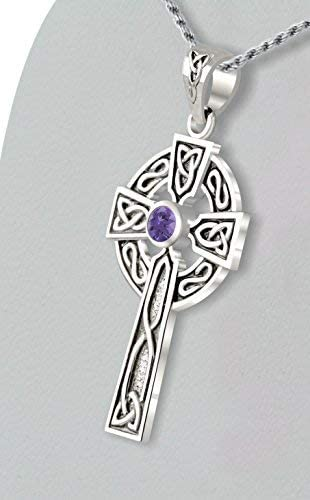 US Jewels And Gems Mens 0.925 Sterling Silver Simulated Alexandrite 1.5 Irish Celtic Knot Cross Pendant Necklace 18 to 24