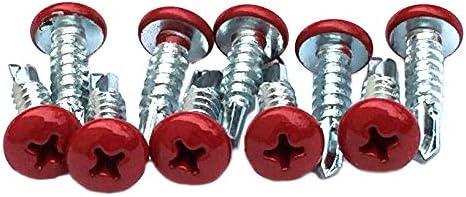 LockoffブランドColo赤 self-tappingラクロスヘッドネジ – 10パックinレッド