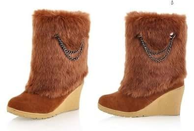 Amazon.com   Winter Warm High-Heeled Female Snow Boots