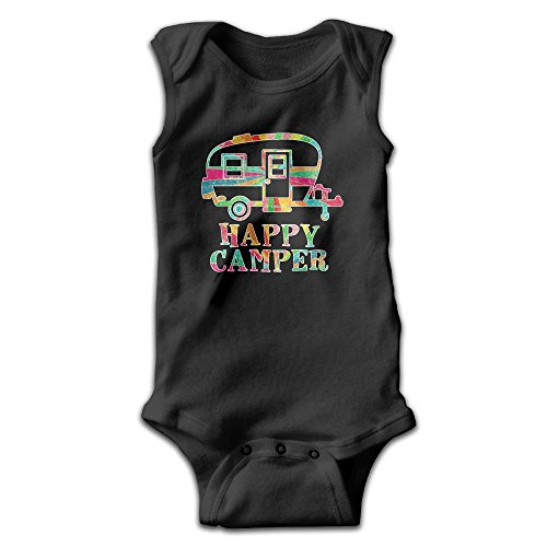 Sleeveless Colorful Happy Camper Unisex Toddler Cute Onesies Bodysuit Romper Outfits Newborn