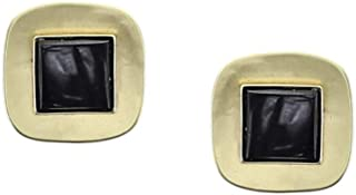 product image for Marjorie Baer Small Brass Rounded Square with Black Onyx Gemstone Clip Earring