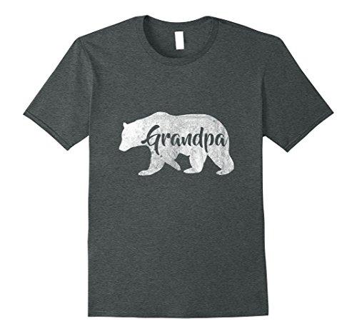 Mens Men's Grandpa Bear T-Shirt Awesome Camping Gramps Tee Large Dark Heather (Grandpa T-shirt)