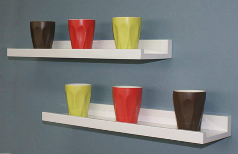 gloss white floating shelf kit 1200 x 250 x 38 mm
