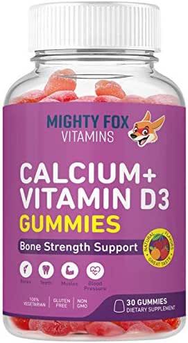 Calcium + Vitamin D3 Gummies for Kids – Builds Strong Muscles, Bones and Teeth with Delicious Naturally Flavored Gummy Vitamins (30 Day Supply)