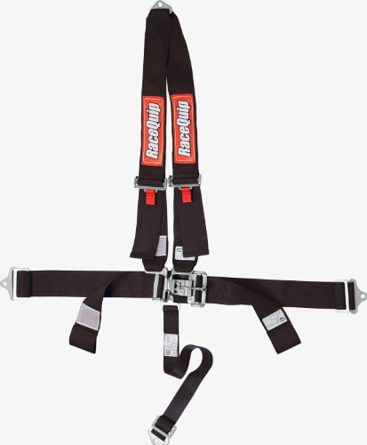 RaceQuip 713003 Black SFI 16.1 Latch and Link 4-Point Safety Harness Set with Single Mount Point Shoulder Harness